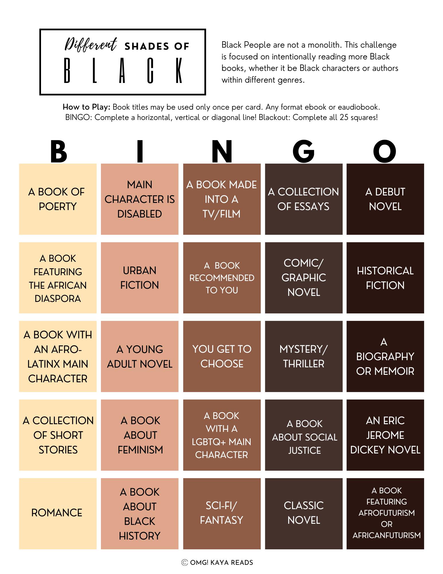 Different Shades of Black Bingo Card